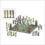 Fairy Fantasy Chess Set with Elevated Glass Board