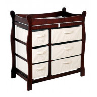 Sleigh Style Changing Table with Six Baskets - Cherry
