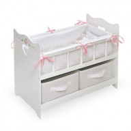 White Rose Doll Crib with Two Baskets
