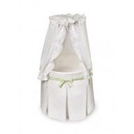 White Bassinet - White Bedding with Gingham Belts