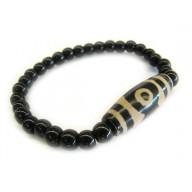 Black Onyx 3-Eyed DZI Bracelet