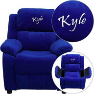 Flash Furniture Personalized Deluxe Padded Microfiber Kids Recliner with Stor