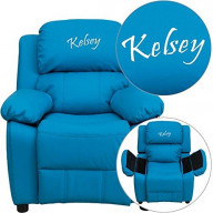 Flash Furniture Personalized Deluxe Padded Vinyl Kids Recliner with Storage A