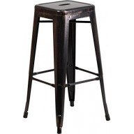 30'' High Backless Black-Antique Gold Metal Indoor-Outdoor Barstool with Square Seat