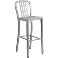 Flash Furniture CH-61200-30-SIL-GG 30'' High Silver Metal Indoor-Outdoor Barstool with Vertical Slat Back