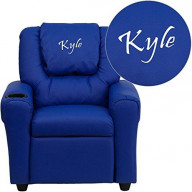Flash Furniture Personalized Vinyl Kids Recliner with Cup Holder and Headrest