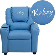 Flash Furniture Personalized Light Vinyl Kids Recliner with Cup Holder and He