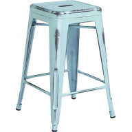Flash Furniture ET-BT3503-24-DB-GG 24'' High Backless Distressed Dream Blue Metal Indoor-Outdoor Counter Height Stool