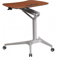 Flash Furniture NAN-IP-10-GG Mobile Sit-Down, Stand-Up Mahogany Computer Desk with 28.25''W Top (Adjustable Range 29'' - 41'')