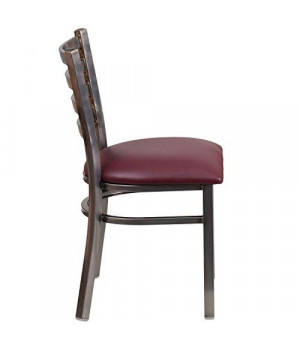 Flash Furniture XU-DG694BLAD-CLR-BURV-GG HERCULES Series Clear Coated Ladder Back Metal Restaurant Chair - Burgundy Vinyl Seat