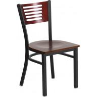 Flash Furniture XU-DG-6G5B-MAH-MTL-GG HERCULES Series Black Decorative Slat Back Metal Restaurant Chair - Mahogany Wood Back & Seat