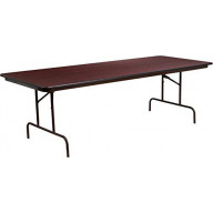 36'' x 96'' Rectangular Mahogany Melamine Laminate Folding Banquet Table