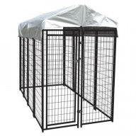 Lucky Dog 6'H x 4'W x 8'L Uptown Welded Wire Kennel w/Cover and Frame (height with cover installed)