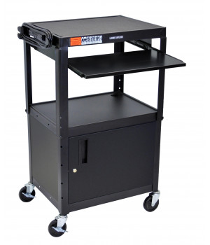 Luxor Adjustable Height Black Metal A/V Cart w/ Pullout Keyboard Tray and Cabinet
