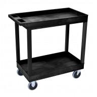Luxor High Capacity 2 Tub Shelves Cart in Black