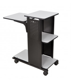 Mobile Presentation Stand With 4 Gray Shelves