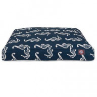 Navy Sea Horse Small Rectangle Pet Bed