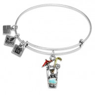 Cocktail Drink Charm Bangle in Silver
