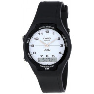 2-Hand Analog-Digital 50 Meter Water Resistant Watch, Black strap with White Face