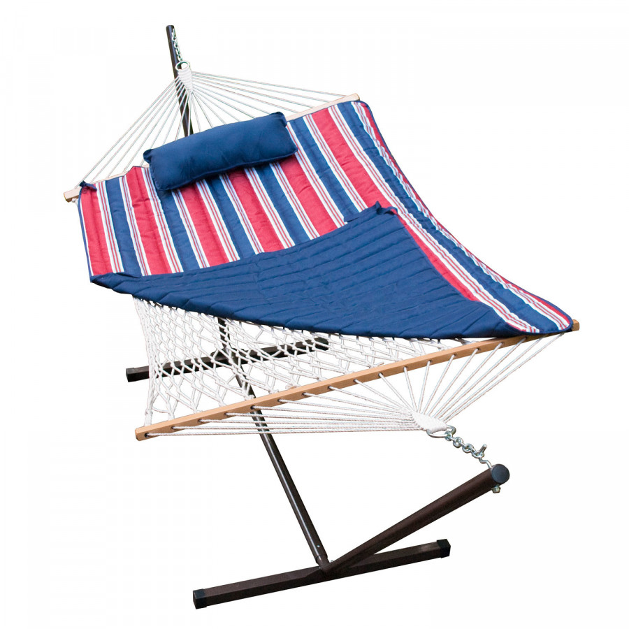 Single Cotton Rope Hammock and Stand Combination