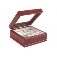 The Lieutenant; SIX Watch, Glass Top Storage Chest featuring 6 Soft-Suede