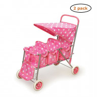 Triple Doll Stroller - Pink with Polka Dots - Pack of 2