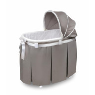 Wishes Oval Bassinet - Full Length Skirt - Gray Bedding
