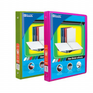 BAZIC 1/2 Inch 3-Ring View Binder with 2-Pockets (Case pack of 24 consist 12-Lime Green & 12-Fuschia)