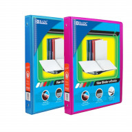 BAZIC 1/2 Inch 3-Ring View Binder with 2-Pockets (Case pack of 24 consist 12-Cyan & 12-Fuschia)