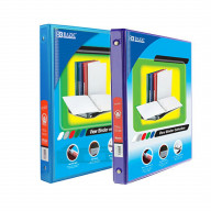 BAZIC 1/2 Inch 3-Ring View Binder with 2-Pockets (Case pack of 24 consist 12-Cyan & 12-Purple)