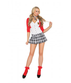 Dean List Diva - 2 pc Costume - Red/White/Plaid - Size M
