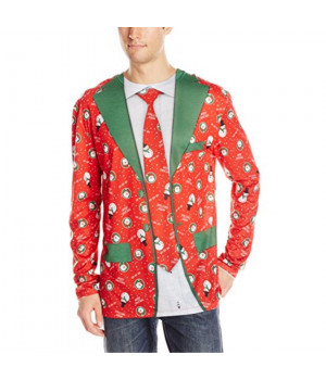 Faux Real Men's Christmas Suit and Tie Long Sleeve T-Shirt, Red, X-Large