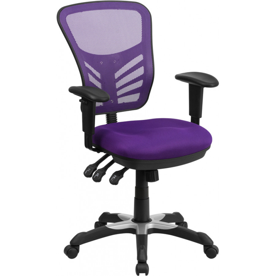 Mid-Back Purple Mesh Multifunction Executive Swivel Chair with Adjustable Arms - HL-0001-PUR-GG