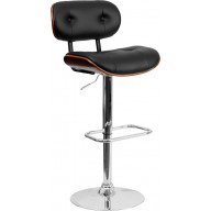 Walnut Bentwood Adjustable Height Barstool with Button Tufted Black Vinyl Seat - SD-2228-WAL-GG