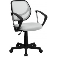 White Mesh Swivel Task Chair with Arms - WA-3074-WHT-A-GG