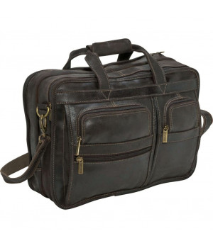 Distressed Leather Brief - DS-34-Choc