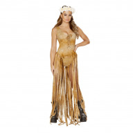 Bodysuit with Long Fringe -Brown,Large/Extra Large