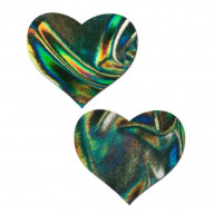 2pc Heart Pasties -Green,One Size