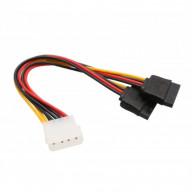 Molex 4-Pin Male to 2x 15-Pin SATA Power Cable