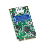 Mini PCI Express 1.1 2-Port USB3.0 Card, Connection via Internal USB3.0 Connector to Dual USB3.0 Type-A Female Cable, Renasas Chipset
