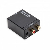 Digital (Coaxial or Toslink) to Analog R/L Audio Converter, with Power Adapter, Black Color