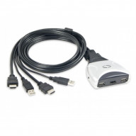 USB Interface, 2x Ports HDMI Cable KVM Switch, Compact Design, Video up to 1920x1200 @ 60Hz, Support HD Audio, HDMI 1.3a