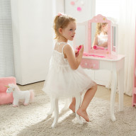 Teamson Kids - Fashion Star Prints Gisele Vanity Table & Stool Set - Pink / White / Gold