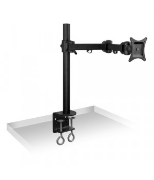 Mount-It! Mi-751 Single Arm, Articulating, Rotating, Swiveling, Tilting, Height Adjustable, Lcd, Led, Tv, And Computer Monitor Display Desk Mount For Screens Between 13 And 27 Inches, Vesa 75X75 Mm And 100X100 Mm, C-Clamp, Black