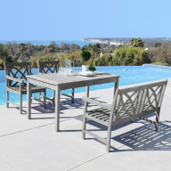 V1297SET20 Renaissance Eco-friendly 4-piece Outdoor Hand-scraped Hardwood Dining Set with Rectangle Table, 4-foot Bench and Arm Chairs