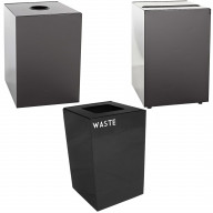 Witt Industries Steel 28-Gallon Geo Cube Recycling Container, Round Opening, Legend