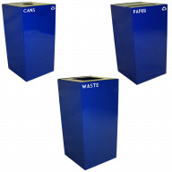 Witt Industries Steel 36-Gallon Geo Cube Recycling Container, Round Opening, Legend