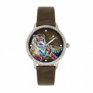 Empress Diana MOP Leather-Band Watch - Olive