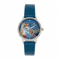 Empress Diana MOP Leather-Band Watch - Teal