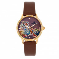 Empress Diana MOP Leather-Band Watch - Brown